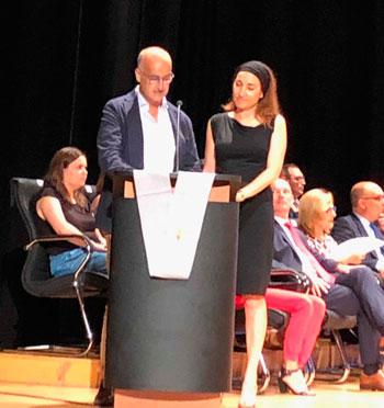 Enar Ruíz y Rafael Muñoz Guillena en la presentación del acto.
